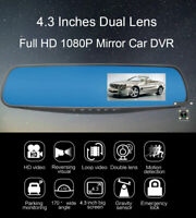 4.3'' Dual Lens Car Mirror DVR 1080P Recorder+Rear View HD Camera 32GB Dash Cam