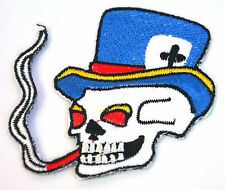 CIGAR SMOKING SKULL TOP HAT  Embroidered Iron Sew On Cloth Patch Badge  APPLIQUE