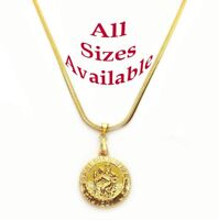 """18k Yellow Gold Womens Mens 20"""" 24"""" 30"""" Snake Chain Necklace w Saint Christopher"""
