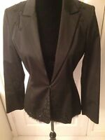 Black Beaded Ladies Evening Trouser Suit Jacket Size 12 Trousers Size 10
