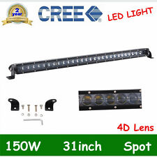 31inch 150W Offroad Single Row CREE LED Light Bar Spot 4D Optical ATV Driving 32
