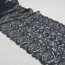 """1 Yard Black Rose Bilateral Embroidered Lace Trim Tulle For DIY Craft Wide 8"""""""