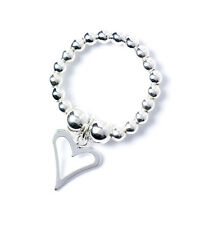 925 Sterling Silver Ball Bead Ring with Open Heart Charm RR003