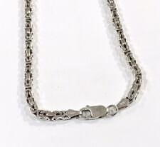"""SQUARE BYZANTINE CHAIN NECKLACE 925 STERLING SILVER  3 mm 22.3g 18"""""""