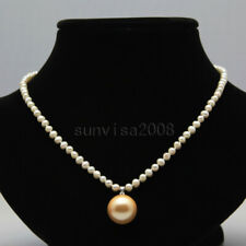 "Real 4-5mm natural round freshwater cultured white pearl necklace pendant 17"" 7#"