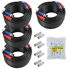 4pcs Black 30M 100ft Power Cable Video DC BNC  for CCTV Camera Security System