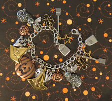"""Halloween Charm Bracelet 7"""" Mixed Metal Copper Silver Gold Plate Cat Scull Ghost"""