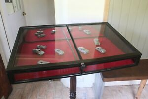 Antique 19th Century Ebonised Counter Top Display Cabinet Vitrine
