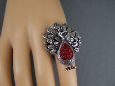 Red silver Ring peacock BIG huge cocktail statement adjustable faux druzy gem