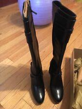Cole Haan Knee High Black Boots NikeAir Heels Leather Georgina Women's Sz 6