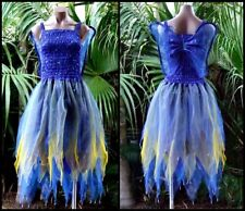 Fairy Dress Party Costume with Wings – WOMEN'S ONE SIZE - Royal Blue and Gold