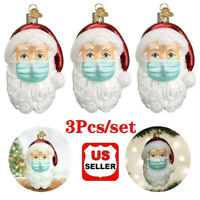 3X 2020 Christmas Ornaments Santa With Face Mask Decoration Xmas Tree Hanging Bs