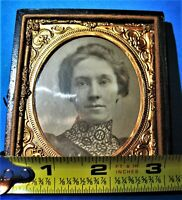 Pretty Young Lady Tintype in Worn and Broken Case Having Bottom Only 1/6 plate
