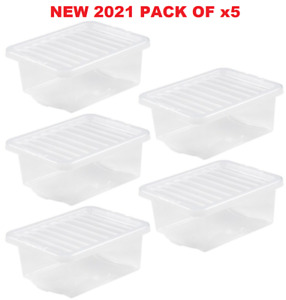 UK Made Clear Plastic Under bed Storage Box With Lids Office Stackable New 2021