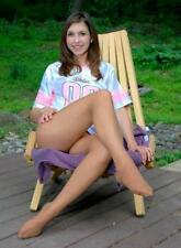"""5""""x7"""" PHOTO * PRETTY COLLEGE GIRL RELAXING on THE DECK in SEXY PANTYHOSE * AU73"""