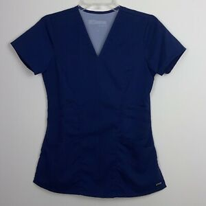 Grey's Anatomy Signature Navy Blue Size XS  Scrub Top Pre-Owned