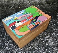 El Salvador Folk Art Hand Crafted Painted Trinket Jewelry Box