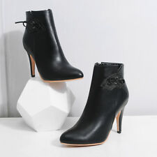 Women's Plus Size Pointed Shoes Black/White Faux Leather High-Heeled Ankle Boots