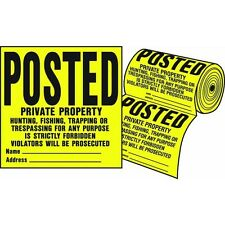 100Ct Roll Posted Private Property No Hunting Tresspassing Trespassing Sign