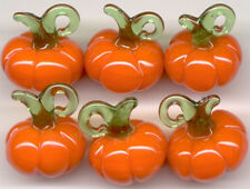 6 Pumpkin Halloween Vegetable Lampwork Glass Pendant Beads Jewelry Making Craft