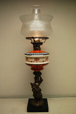 ANTIQUE KEROSENE OIL GWTW PARLOR BANQUET VICTORIAN BOSTON SANDWICH  GLASS LAMP