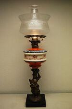 ANTIQUE KEROSENE OIL GWTW BANQUET VICTORIAN ROSE GIRL BOSTON SANDWICH GLASS LAMP