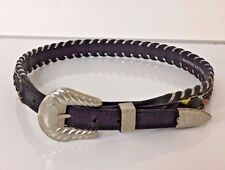 Al Beres USA Black Leather & Indian Bead Silver Whip Stitch Belt Size 30
