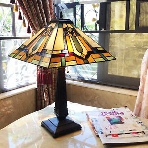 Tiffany Style Mission Design 2-Light Stained Glass Bronze Fin Accent Table Lamp