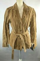 Wilsons Maxima Womens L Tan Suede Leather Button Up Belted Collared Jacket NWD