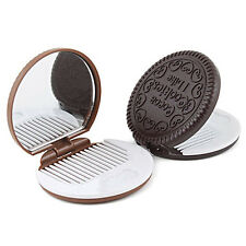 Cute Cookie Shaped Mirror Portable Makeup Chocolate Compact Mirror with Comb EE
