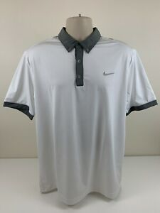 Nike Golf White Polo Shirt Men's Size L Large Grey Dri Fit Tour Performance EUC