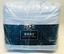 Home Reflections 500TC Cotton Blend Sheet Set Blue White California King - NEW