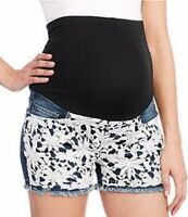 Denim Diva Maternity Womens Plus Size 1X 16/18 Full Panel Lace Stretch Shorts
