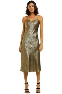 By Johnny Gold Foil Bias Slip Dress Size 10