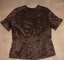 Ladies 12 M/L Brown polka dot/ish silky polyester blouse button up back S/S