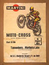 """MARTINI"" RACE POSTER (1964) ""THE GERMAN HAMMER""- Motorcycle Racing ""MOTO-CROSS"""