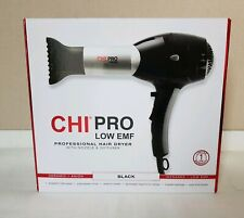 NWT CHI PRO Low EMF Pro Hair Dryer w/ Nozzle + Diffuser Black
