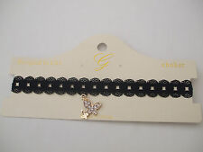 Black Lace Open Circles Choker, Butterfly Pendant Filled With Crystal Stones New
