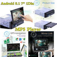 "1 Din 7"" Android 8.1 Car MP5 Multimedia Player Bluetooth FM Radio GPS Sat Navi"