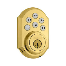 Kwikset 909 SmartCode Electronic Deadbolt featuring SmartKey in Lifetime Brass