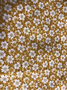 "2021-117 Fabric-Unbranded-Cotton-1 yd 6"" x 45""-Gold & White floral-crafts & More"