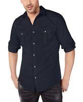 INC Mens Shirt Blue Size 2XL Button Front Dual-Pocket Grid-Printed $49 304