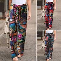 ZANZEA 8-24 Women Belted Elastic Waist Wide Leg Pants Plus Size Printed Trousers