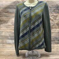 Talbots Cardigan Sweater Womens Full Zip Gray Striped Cotton Sz S Classic