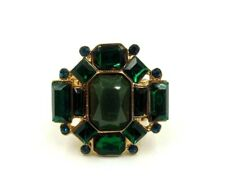 GOLD OCTAGON STRETCH RING WITH VARIOUS SHAPED GREEN & BLUE RHINESTONES