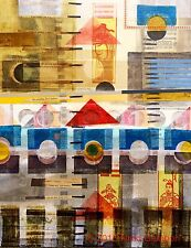 Abstract GEOMETRIC mixed media collage modern art beige tan red yellow blue grey