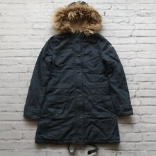 Abercrombie & Fitch Fur Hooded Parka Jacket Womens Size L Trench Coat Snorkel