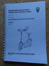 Bedienungsanleitung MZ Elektroroller Roller Charly Schaltplan Deutsch Englisch