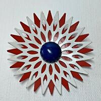 Vintage Red White Blue Enamel Lattice Mod Brooch Pin
