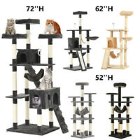 """52"""" 62"""" 72"""" Cat Tree Condo Kitty Climbing Tower Pet Scratching Post Play House"""